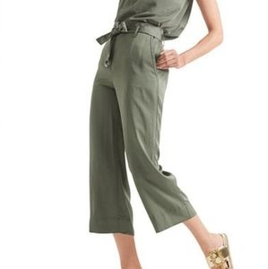 MARC CAIN Tie Waist Baggy Pants in Olive Green 4